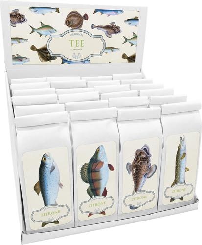 Sköna Ting Tee Zitrone 100g im Papierbeutel mit Seeteufel, Meerforelle, Barsch oder Hecht - Motiv