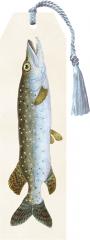 Sköna Ting Lesezeichen aus dicker Pappe mit HECHT und liebevoller Flechtkordel